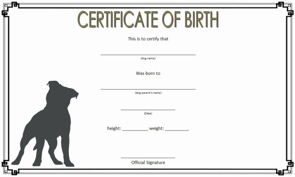 Dog Birth Certificate Template Free Fresh Dog Birth regarding Dog Birth Certificate Template Editable