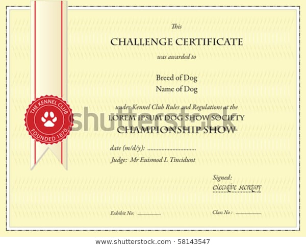 Dog Championship Certificate Template Stock Vector (Royalty Within Certificate Of Championship