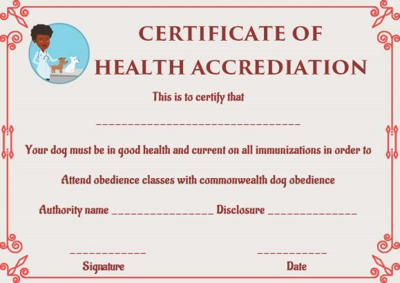 Dog Health Certificate For Travel Templates | Certificate Within Dog Obedience Certificate Template Free 8 Docs