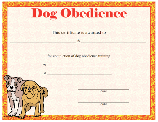 Dog Obedience Certificate Printable Certificate | Dog Throughout Dog Obedience Certificate Template