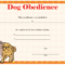 Dog Obedience Certificate Printable Certificate | Dog within Dog Obedience Certificate Templates