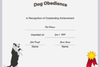 Dog Obedience Certificate Printable Certificate | Training for Dog Obedience Certificate Template