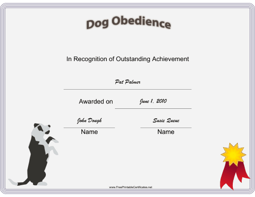 Dog Obedience Certificate Printable Certificate | Training Pertaining To Unique Dog Obedience Certificate Templates