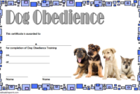 Dog Obedience Training Certificate Template Free 3 In 2020 regarding Best Dog Obedience Certificate Template