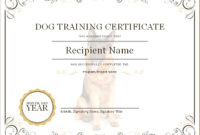 Dog Training Certificate | Microsoft Word & Excel Templates pertaining to Best Dog Obedience Certificate Template