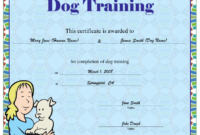 Dog Training Certificate Printable Certificate pertaining to Unique Dog Training Certificate Template