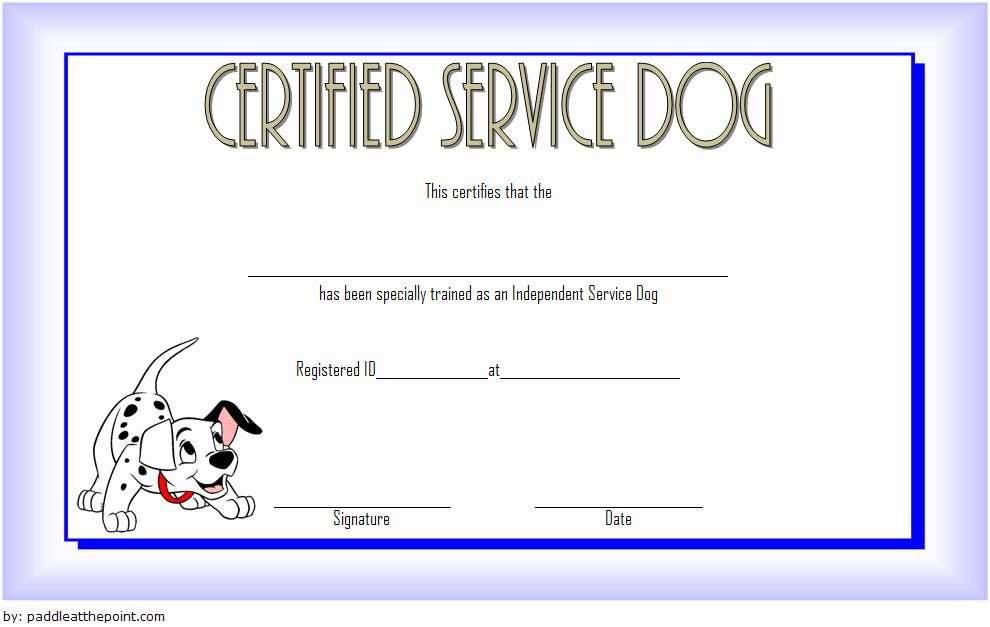Dog Training Certificate Template Best Of Service Dog in Service Dog Certificate Template Free 7 Designs