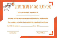 Dog Training Certificate Template In 2020 | Training throughout Dog Obedience Certificate Template