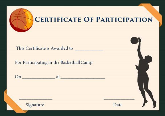 Download Free Editable And Printable Basketball Intended For Unique Basketball Participation Certificate Template