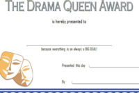 Drama Queen Award Certificate Free Printable 1 In 2020 pertaining to Unique Drama Certificate Template Free 10 Fresh Concepts