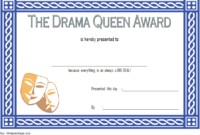 Drama Queen Award Certificate Free Printable 1 In 2020 with regard to Unique Drama Certificate Template Free 10 Fresh Concepts