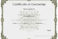 ❤️5+ Free Sample Of Certificate Of Ownership Form Template❤️ intended for Ownership Certificate Templates
