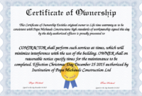 ❤️5+ Free Sample Of Certificate Of Ownership Form Template❤️ with regard to Download Ownership Certificate Templates Editable