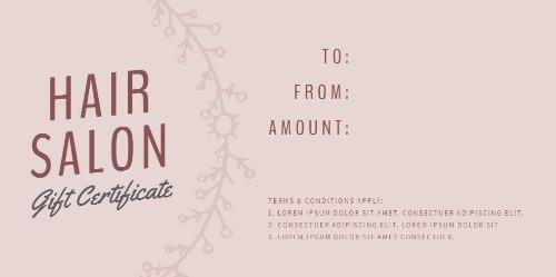 Easy To Edit Hair Salon Gift Certificates. With Regard To Free Printable Hair Salon Gift Certificate Template