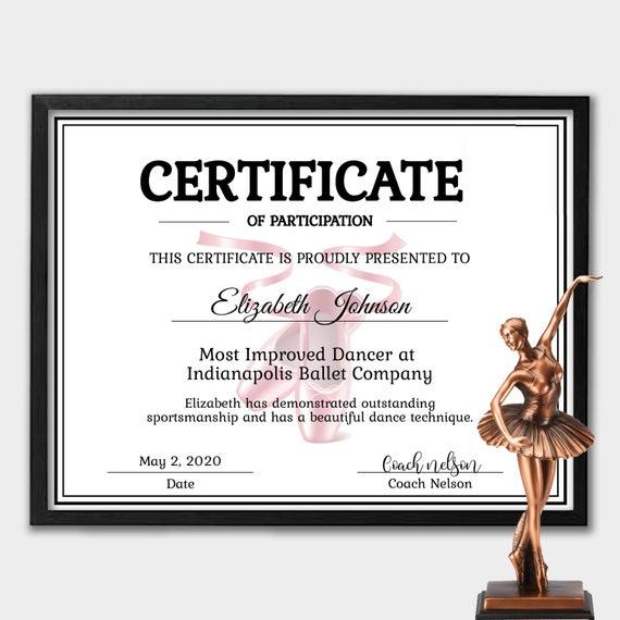 Editable Ballett Zertifikat Vorlage - Instant Download Dance Zertifikat  Vorlage - Zertifikat Der Teilnahme - Personalisierte Zertifikat Throughout Unique Ballet Certificate Template