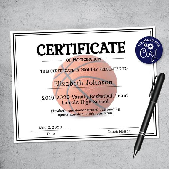 Editable Basketball Certificate Template - Printable Certificate Template -  Basketball Certificate Template Personalized Diploma Certificate Pertaining To Download 7 Basketball Participation Certificate Editable Templates