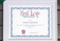 Editable Best Wife Award Template Editable Award Template intended for Best Best Wife Certificate Template