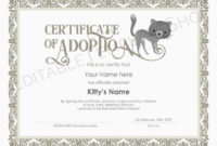 Editable Certificate Of Cat Adoption Template, Printable Pet Adoption  Certificate Template, Kitty Cat Adoption Certificate, Instant Download with regard to Cat Adoption Certificate Templates