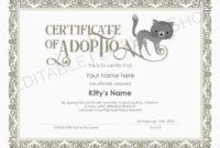 Editable Certificate Of Cat Adoption Template, Printable Pet Adoption  Certificate Template, Kitty Cat Adoption Certificate, Instant Download within Cat Adoption Certificate Template