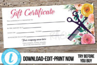 Editable Custom Hair Salon Gift Certificate Template for Salon Gift Certificate
