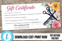 Editable Custom Hair Salon Gift Certificate Template within Unique Hair Salon Gift Certificate Templates