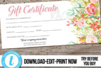 Editable Custom Printable Gift Certificate Template, Floral within Mothers Day Gift Certificate Template