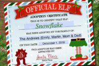 Editable Elf Adoption Certificate, Elf Letters Notes From The Elf, Elf  Report Card, Elf Activity Santa North Pole Printable Instant Download within Elf Adoption Certificate Free Printable