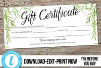 Editable Greenery Printable Gift Certificate Template inside Photography Session Gift Certificate