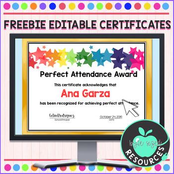 Editable Perfect Attendance Certificate Worksheets In Fresh Perfect Attendance Certificate Template Editable