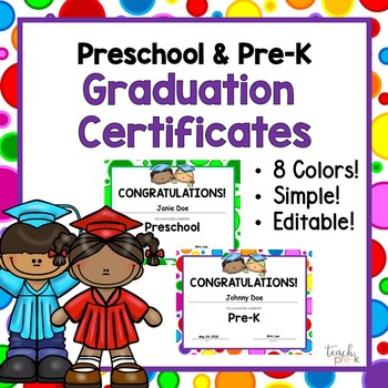 Editable Preschool & Pre K Graduation Certificates! For Editable Pre K Graduation Certificates