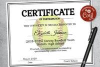 Editable Softball Certificate Template – Printable Certificate Template –  Softball Certificate Template Personalized Diploma Certificate regarding Best 10 Free Printable Softball Certificate Templates