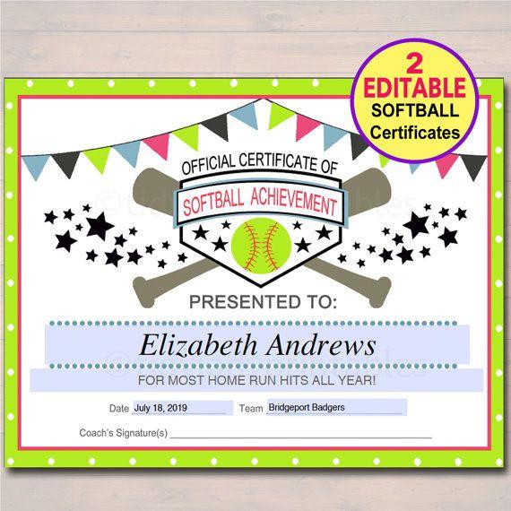 Editable Softball Certificates Instant Download Softball intended for Free Softball Certificates Printable 10 Designs