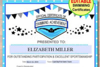 Editable Swim Team Award Certificates Instant Download throughout Swimming Achievement Certificate Free Printable
