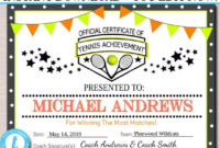 Editable Tennis Award Certificates, Instant Download, Team for Unique Editable Tennis Certificates