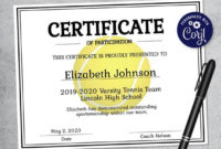 Editable Tennis Certificate Template – Printable Certificate Template –  Tennis Certificate Template Personalized Diploma Certificate pertaining to Editable Tennis Certificates