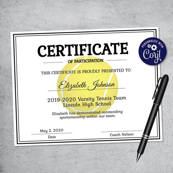 Editable Tennis Certificate Template - Printable Certificate Template -  Tennis Certificate Template Personalized Diploma Certificate With Tennis Certificate Template