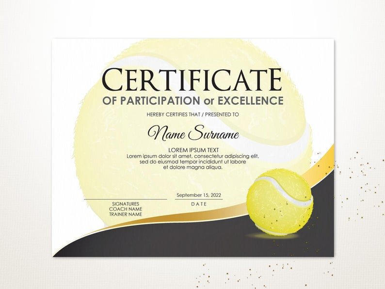 Editable Tennis Certificate Template Sport Certificate Award Intended For Unique Editable Tennis Certificates