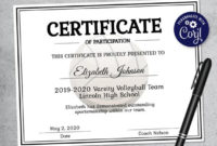 Editable Volleyball Certificate Template – Printable Certificate Template –  Volleyball Certificate Template Personalized Diploma Certificate for Unique Volleyball Certificate Template Free