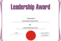 Education Certificate – Leadership Award Template intended for Leadership Award Certificate Template