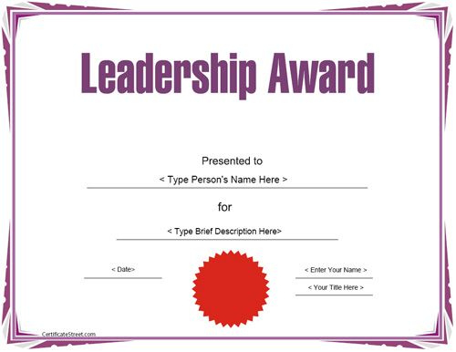 Education Certificate - Leadership Award Template Intended For Leadership Award Certificate Template