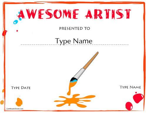 Education Certificates – Artist Award | Art Certificate, Art With Regard To Free Art Award Certificate Templates Editable
