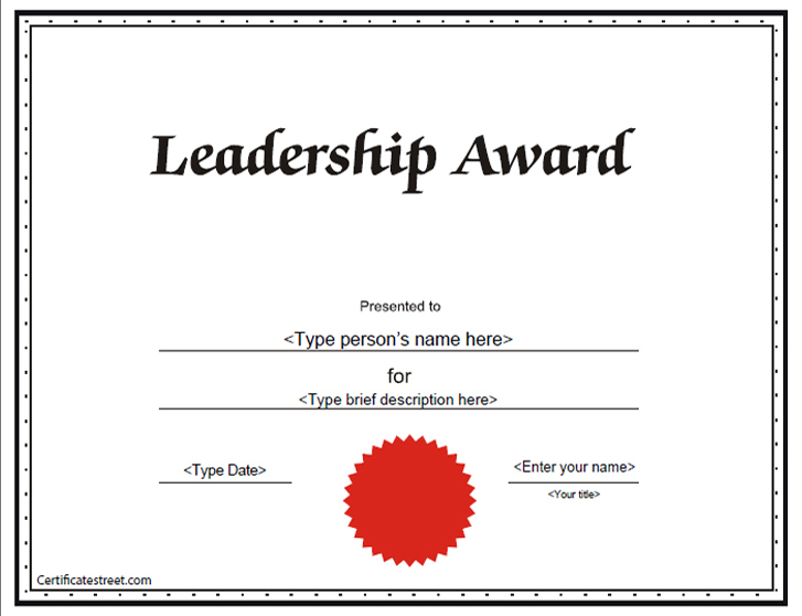 Education Certificates - Leadership Award Certificate Throughout Fresh Leadership Award Certificate Template
