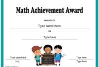 Education Certificates – Math Achievement Award in Math Achievement Certificate Templates