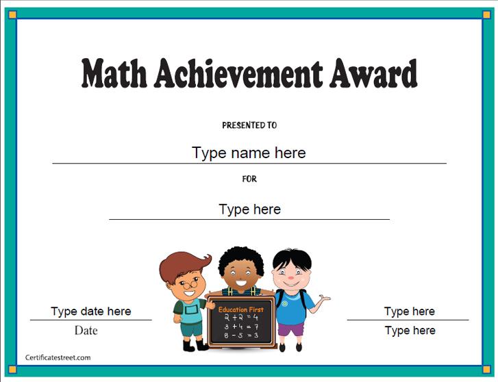 Education Certificates - Math Achievement Award In Math Achievement Certificate Templates