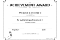 Education World: Certificate Of Achievement Award Template with regard to Fresh Outstanding Effort Certificate Template