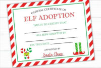 Elf Adoption Certificate Instant Download Elf Adoption in Elf Adoption Certificate Free Printable