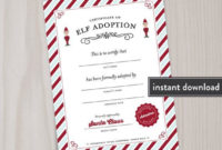 Elf Adoption Certificate Or Elf Welcome Letter, Printable regarding Elf Adoption Certificate Free Printable