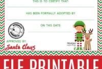 Elf On The Shelf Adoption Certificate   Adoption Certificate with regard to Unique Elf Adoption Certificate Free Printable