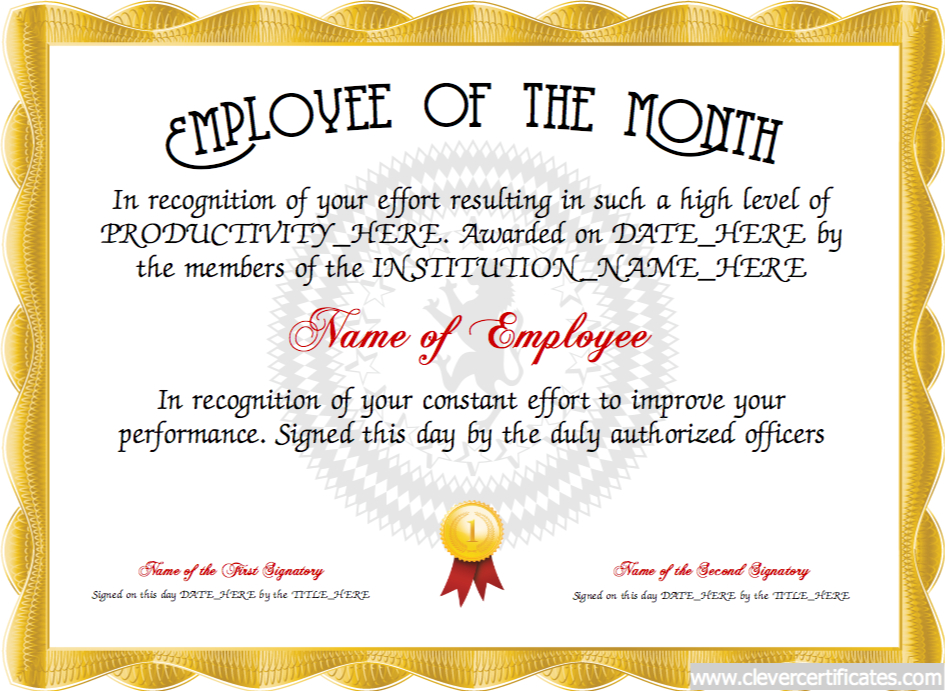 Employee Of The Month Certificate Designer   Free With Regard To Fresh Employee Of The Month Certificate Templates