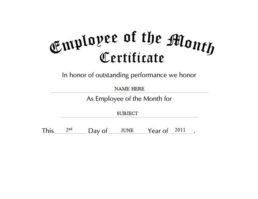Employee Of The Month Certificate Free Templates Clip Art Within Fresh Employee Of The Month Certificate Templates